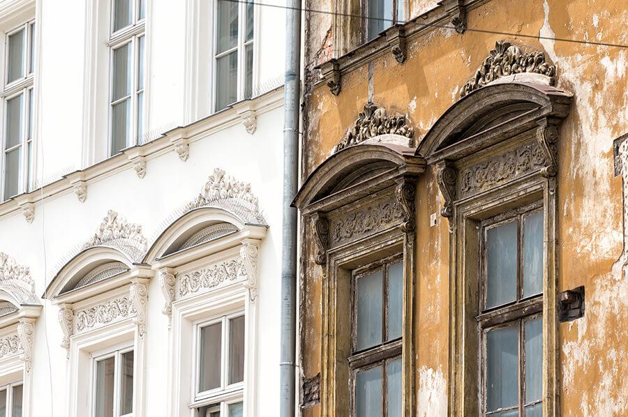 Neue und alte Fassade Malereibetrieb in Hannover
