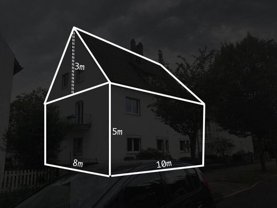 Fassadenanstrich eines Zweifamilienhauses mit 200 Quadratmetern Fassadenfläche