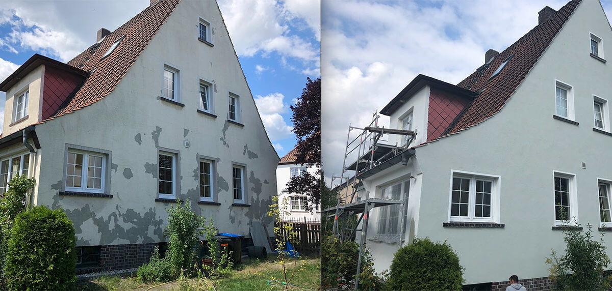 Haus vor und nach der Fassadenrenovierung