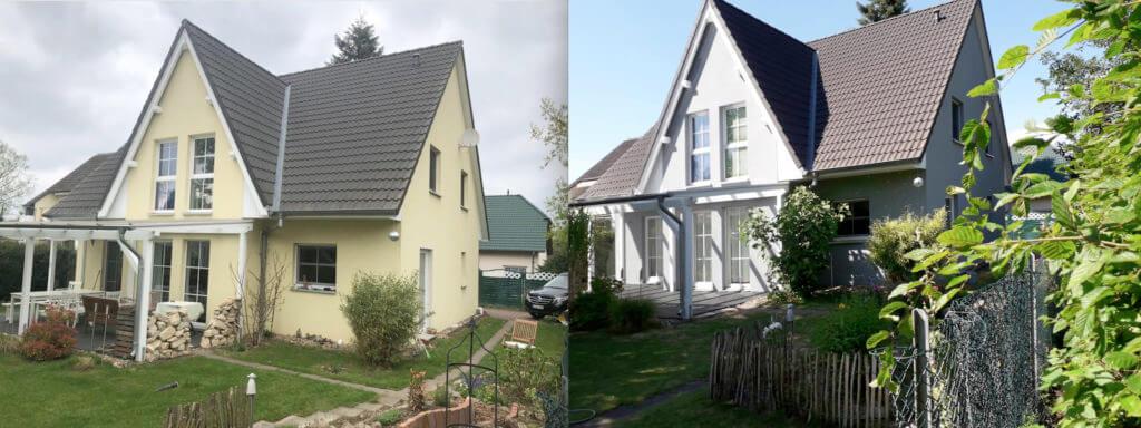 Hausanstrich in Stadthagen durch Malereibetrieb Nerlich, Vorher Nachher Bild